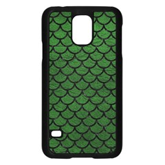 Scales1 Black Marble & Green Leather (r) Samsung Galaxy S5 Case (black)