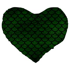 Scales1 Black Marble & Green Leather (r) Large 19  Premium Flano Heart Shape Cushions