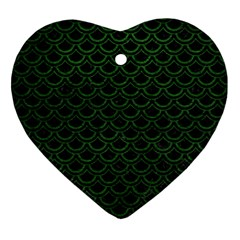 Scales2 Black Marble & Green Leatherscales2 Black Marble & Green Leather Ornament (heart)