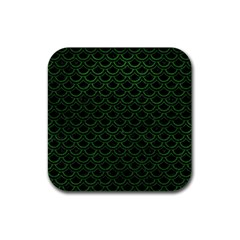 Scales2 Black Marble & Green Leatherscales2 Black Marble & Green Leather Rubber Coaster (square)