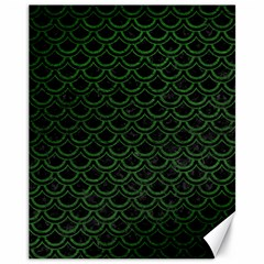 Scales2 Black Marble & Green Leatherscales2 Black Marble & Green Leather Canvas 11  X 14