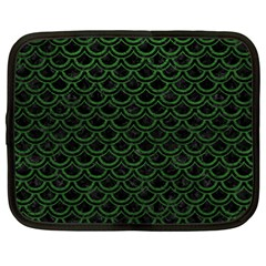 Scales2 Black Marble & Green Leatherscales2 Black Marble & Green Leather Netbook Case (large)