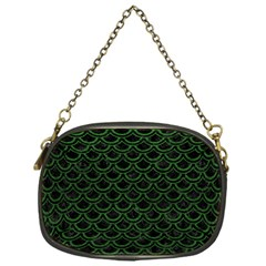 Scales2 Black Marble & Green Leatherscales2 Black Marble & Green Leather Chain Purses (one Side)