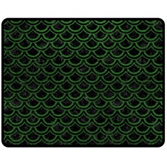 Scales2 Black Marble & Green Leatherscales2 Black Marble & Green Leather Fleece Blanket (medium)