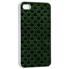 Scales2 Black Marble & Green Leatherscales2 Black Marble & Green Leather Apple Iphone 4/4s Seamless Case (white)