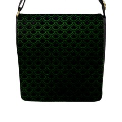 Scales2 Black Marble & Green Leatherscales2 Black Marble & Green Leather Flap Messenger Bag (l)