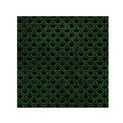 Scales2 Black Marble & Green Leatherscales2 Black Marble & Green Leather Small Satin Scarf (square)
