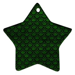 Scales2 Black Marble & Green Leather (r) Ornament (star)