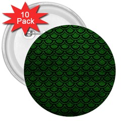 Scales2 Black Marble & Green Leather (r) 3  Buttons (10 Pack)