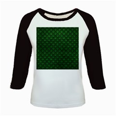 Scales2 Black Marble & Green Leather (r) Kids Baseball Jerseys