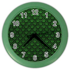 Scales2 Black Marble & Green Leather (r) Color Wall Clocks
