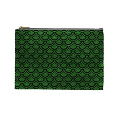 Scales2 Black Marble & Green Leather (r) Cosmetic Bag (large)