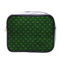 Scales2 Black Marble & Green Leather (r) Mini Toiletries Bags