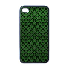 Scales2 Black Marble & Green Leather (r) Apple Iphone 4 Case (black)