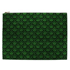 Scales2 Black Marble & Green Leather (r) Cosmetic Bag (xxl)