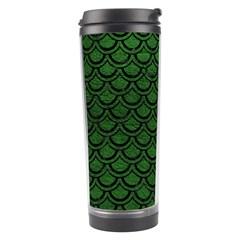 Scales2 Black Marble & Green Leather (r) Travel Tumbler