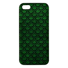 Scales2 Black Marble & Green Leather (r) Iphone 5s/ Se Premium Hardshell Case