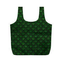 Scales2 Black Marble & Green Leather (r) Full Print Recycle Bags (m)