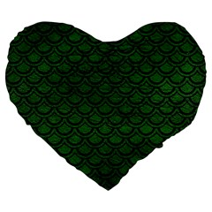 Scales2 Black Marble & Green Leather (r) Large 19  Premium Flano Heart Shape Cushions