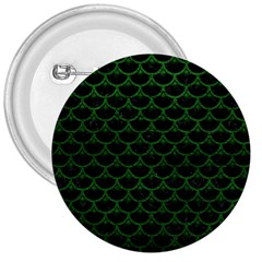 Scales3 Black Marble & Green Leather 3  Buttons