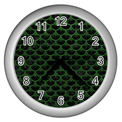 Scales3 Black Marble & Green Leather Wall Clocks (silver)