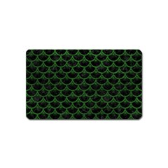 Scales3 Black Marble & Green Leather Magnet (name Card)