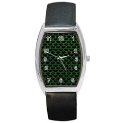 Scales3 Black Marble & Green Leather Barrel Style Metal Watch