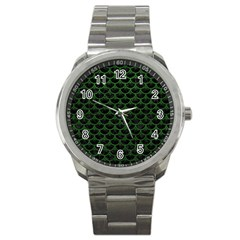 Scales3 Black Marble & Green Leather Sport Metal Watch
