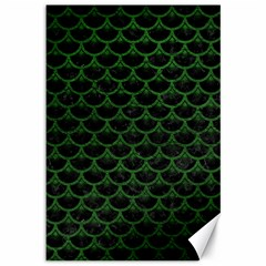 Scales3 Black Marble & Green Leather Canvas 12  X 18