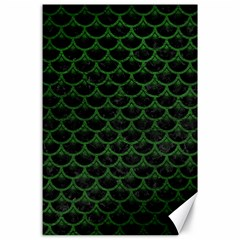 Scales3 Black Marble & Green Leather Canvas 24  X 36