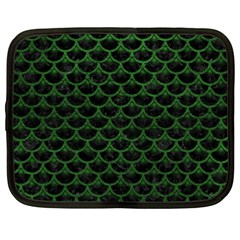 Scales3 Black Marble & Green Leather Netbook Case (xxl)