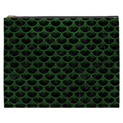 Scales3 Black Marble & Green Leather Cosmetic Bag (xxxl)