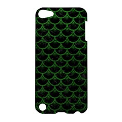 Scales3 Black Marble & Green Leather Apple Ipod Touch 5 Hardshell Case