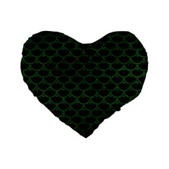 Scales3 Black Marble & Green Leather Standard 16  Premium Heart Shape Cushions