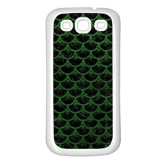 Scales3 Black Marble & Green Leather Samsung Galaxy S3 Back Case (white)