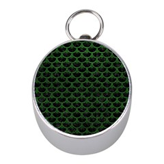 Scales3 Black Marble & Green Leather Mini Silver Compasses