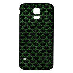 Scales3 Black Marble & Green Leather Samsung Galaxy S5 Back Case (white)