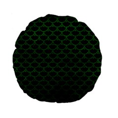 Scales3 Black Marble & Green Leather Standard 15  Premium Flano Round Cushions