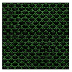 Scales3 Black Marble & Green Leather Large Satin Scarf (square)