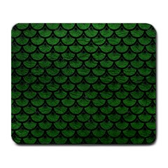 Scales3 Black Marble & Green Leather (r) Large Mousepads