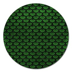 Scales3 Black Marble & Green Leather (r) Magnet 5  (round)