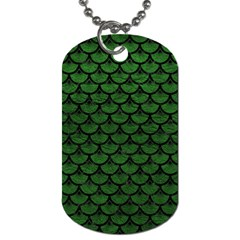 Scales3 Black Marble & Green Leather (r) Dog Tag (two Sides)