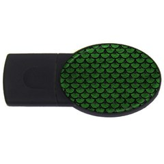 Scales3 Black Marble & Green Leather (r) Usb Flash Drive Oval (2 Gb)