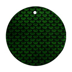 Scales3 Black Marble & Green Leather (r) Round Ornament (two Sides)