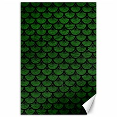 Scales3 Black Marble & Green Leather (r) Canvas 24  X 36