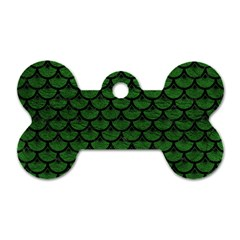 Scales3 Black Marble & Green Leather (r) Dog Tag Bone (one Side)