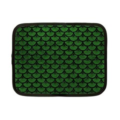 Scales3 Black Marble & Green Leather (r) Netbook Case (small)