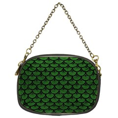 Scales3 Black Marble & Green Leather (r) Chain Purses (one Side)