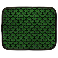 Scales3 Black Marble & Green Leather (r) Netbook Case (xl)