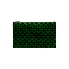 Scales3 Black Marble & Green Leather (r) Cosmetic Bag (small)